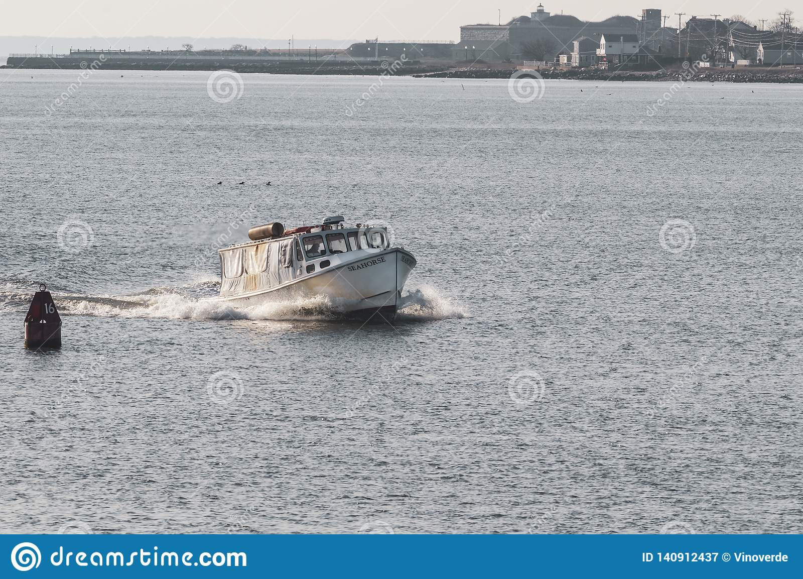Water Taxi Seahorse Crossing New Bedford Outer Harbor Editorial
