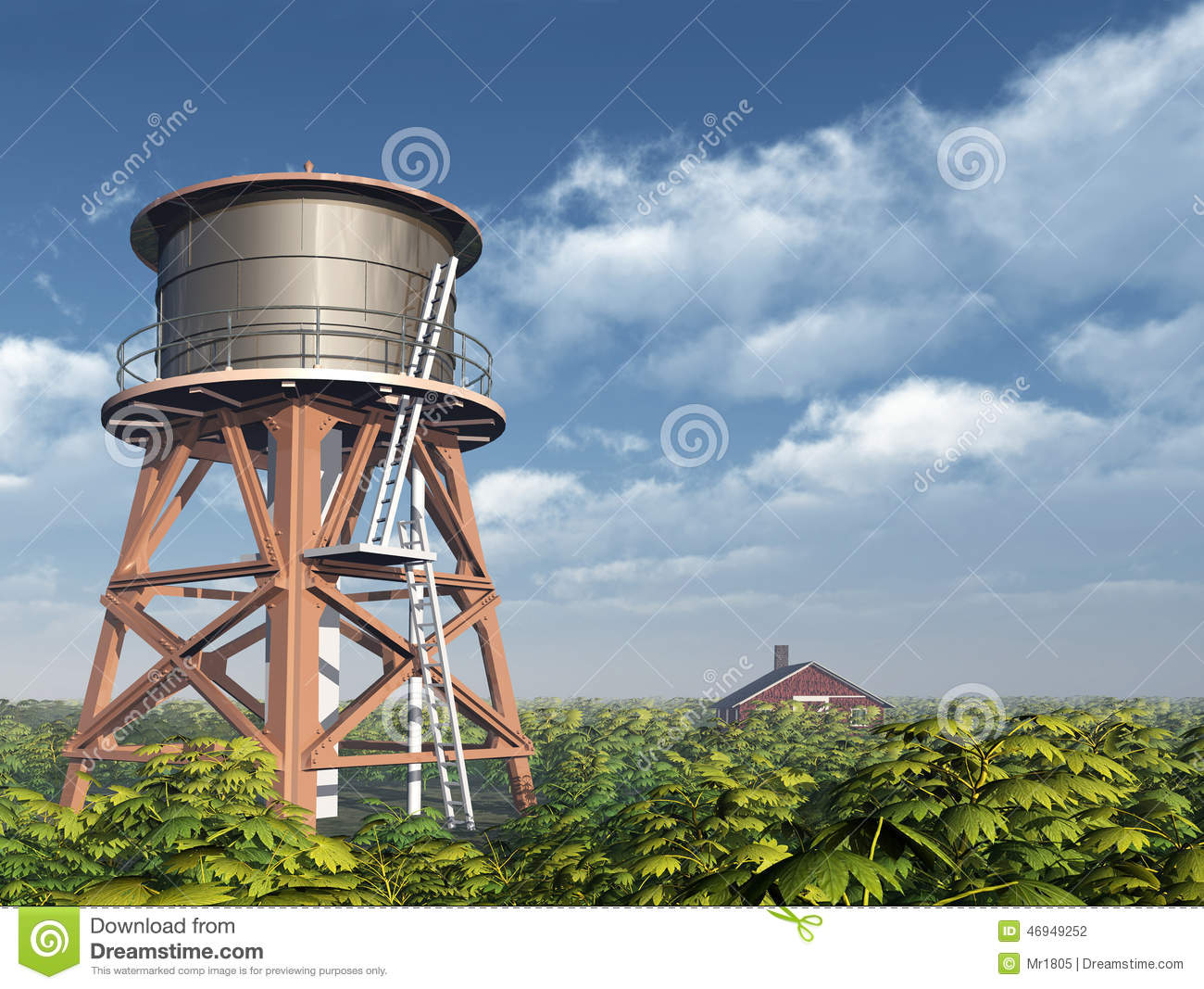 Water tower and farmhouse stock illustration image 46949252 for Farmhouse tower