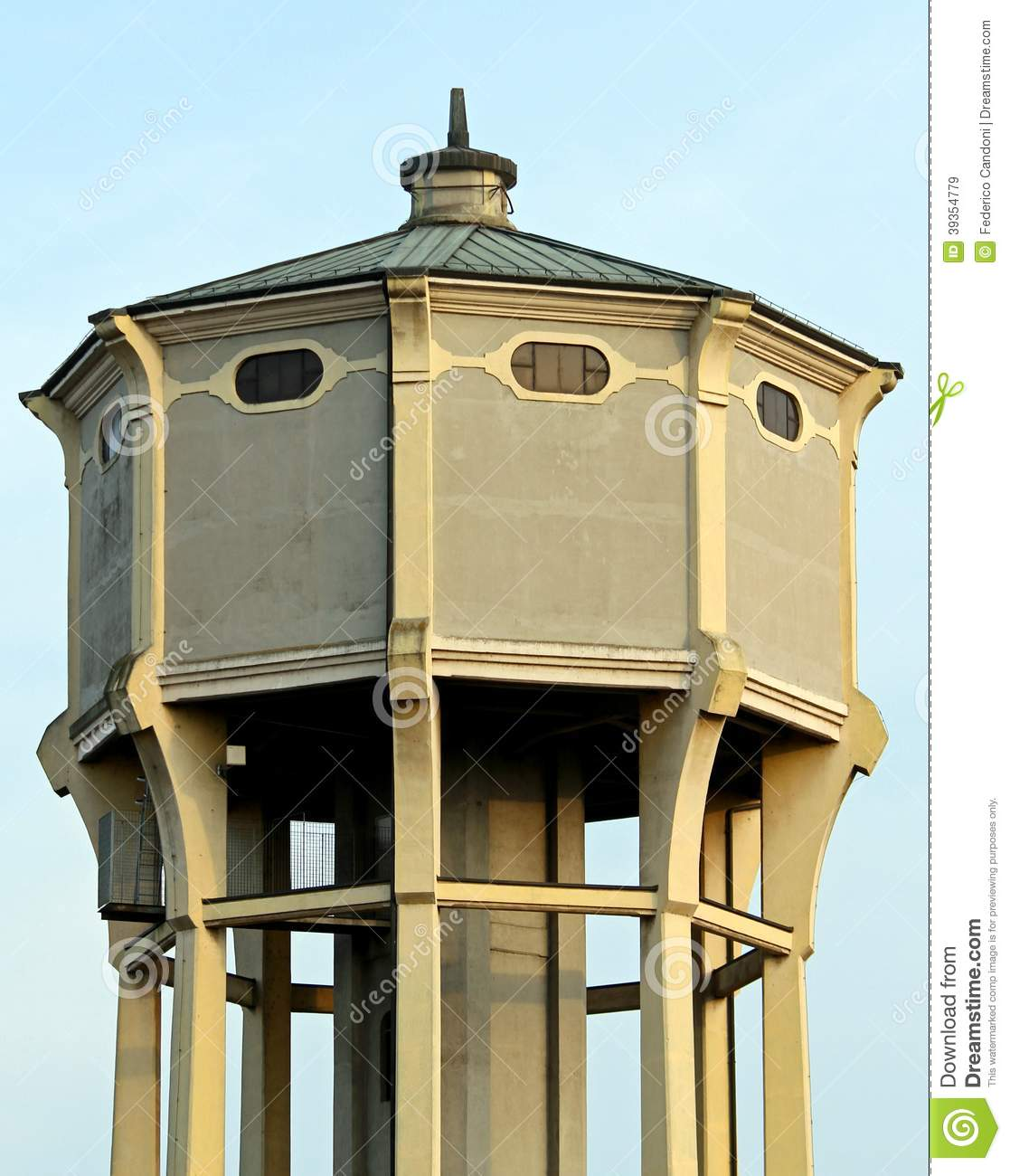 Water tower with the large reservoir for drinking water