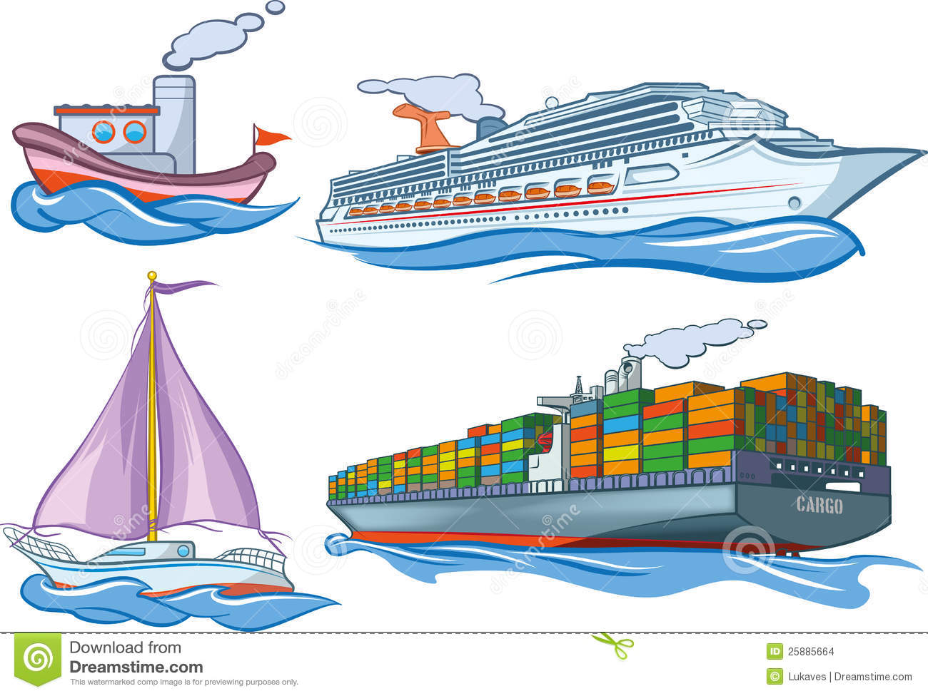 An illustration of several basic types of water transportation.