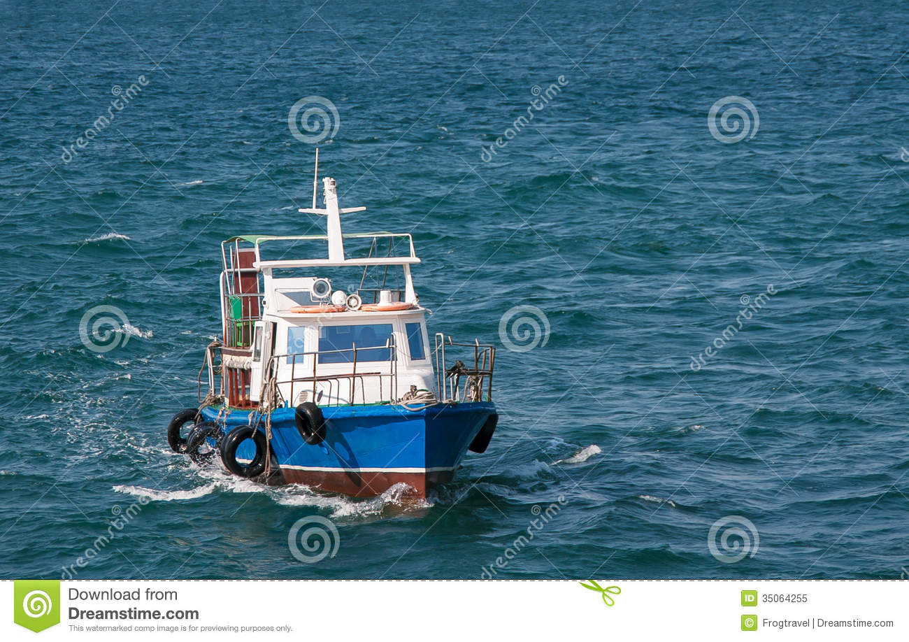 ... vacation on the water transport - touristic boat on sea background