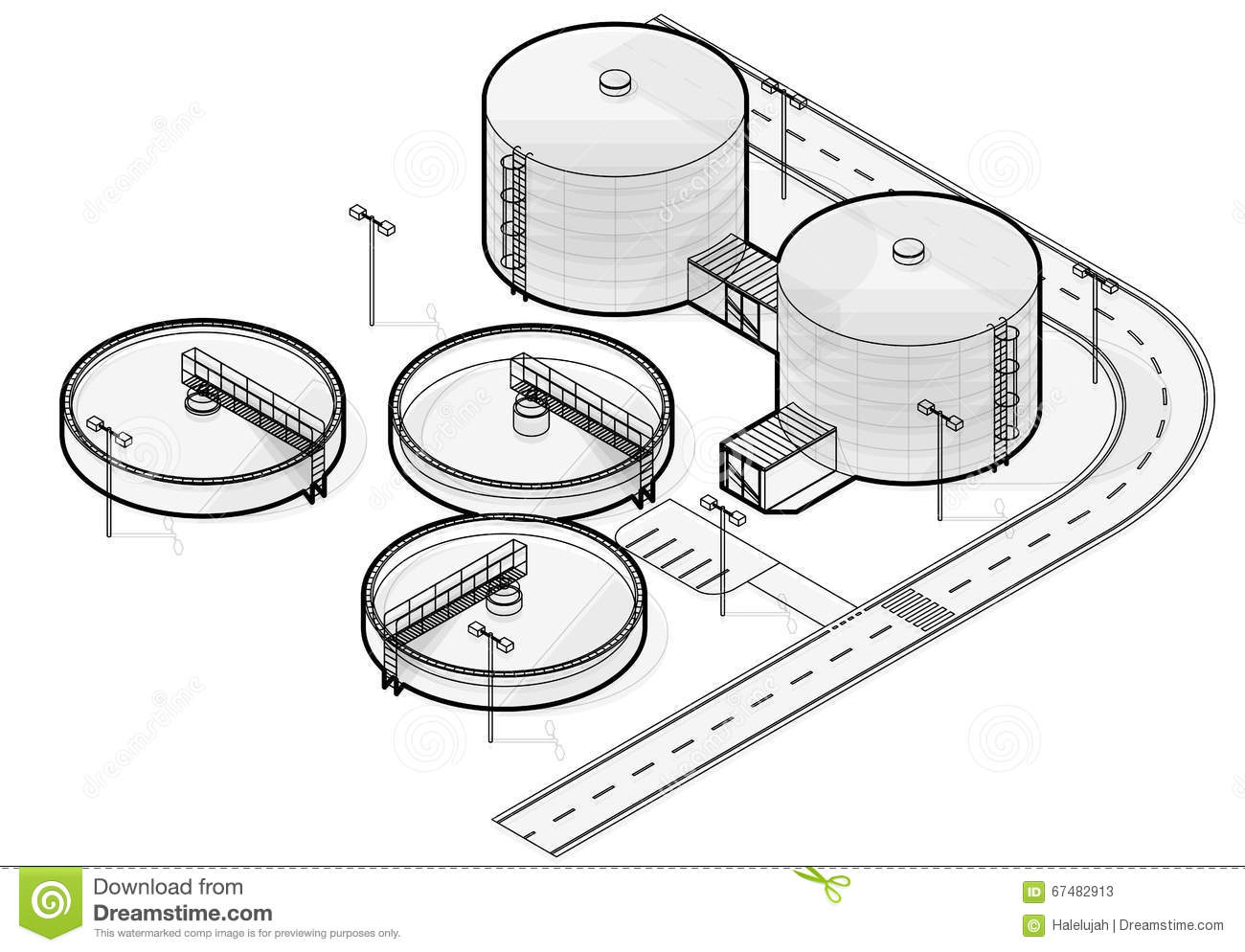 Water Treatment Isometric Building Infographic Big Wire Bacterium Purifier On White Background