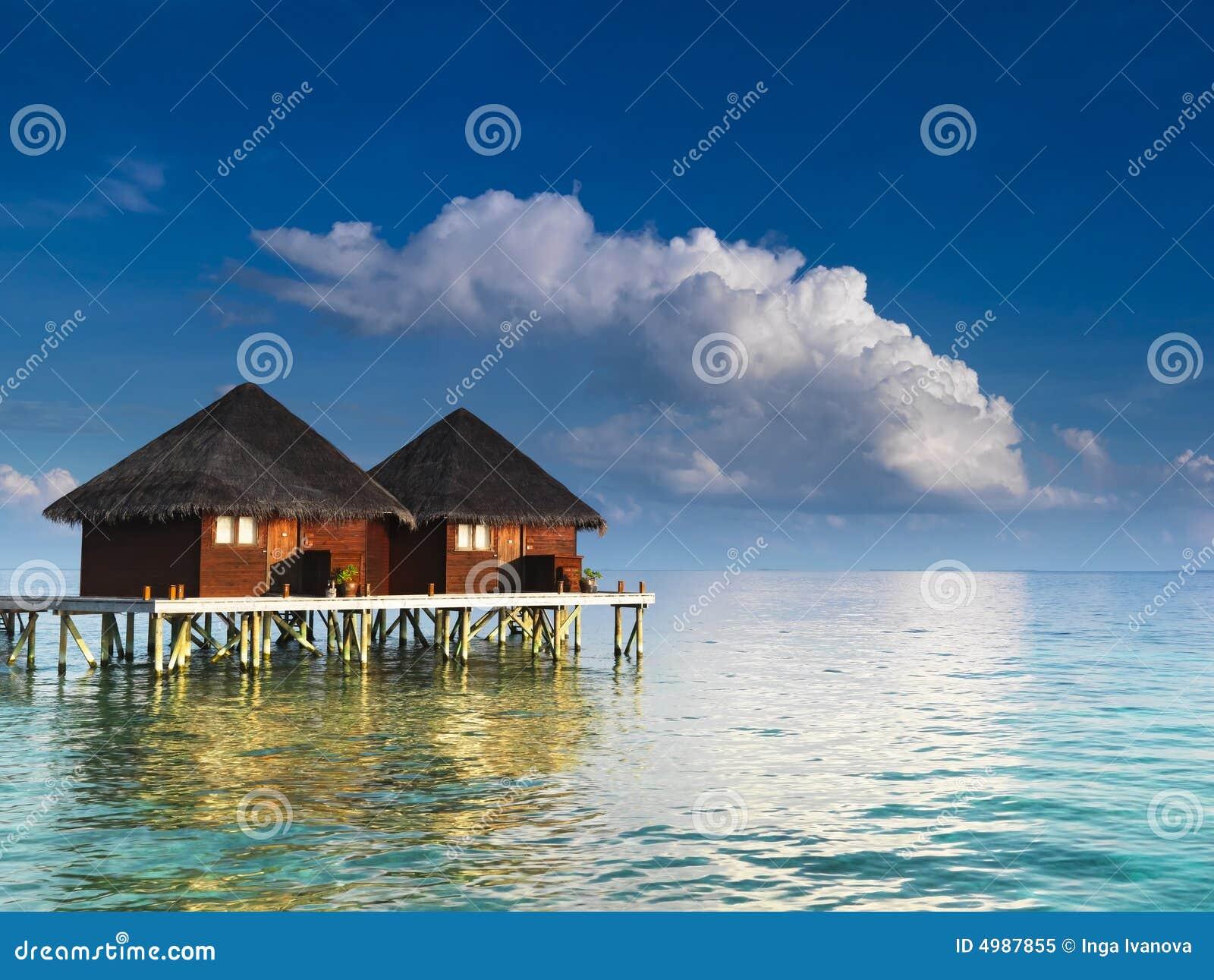 Water villas at tropical resort