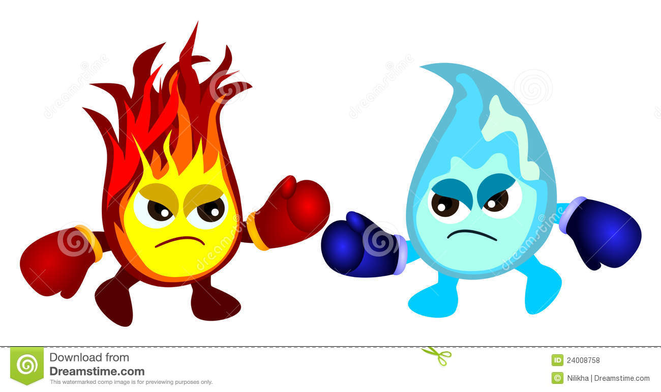 Humorous cartoon illustration of a fire fighting with water, both of ...