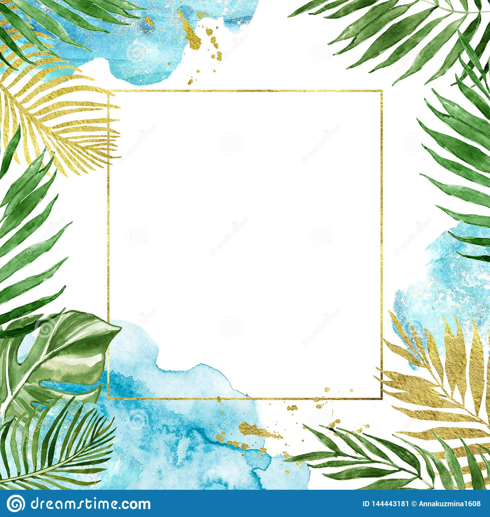 Watercolor floral geometric gold frame with tropical leaves isolated