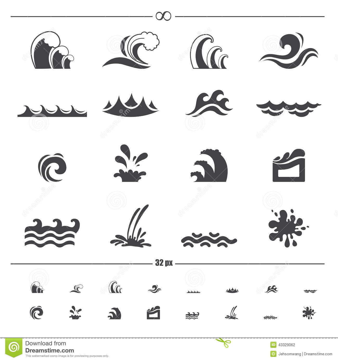 Water wave icons vector
