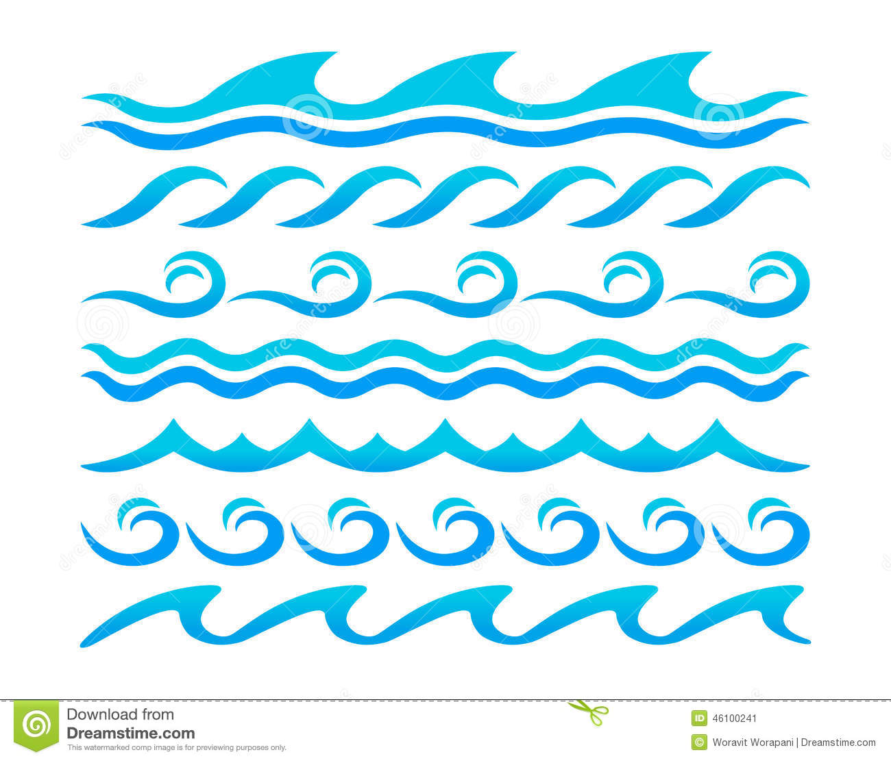 Water waves design elements vector set stock vector - Blue ocean design ...