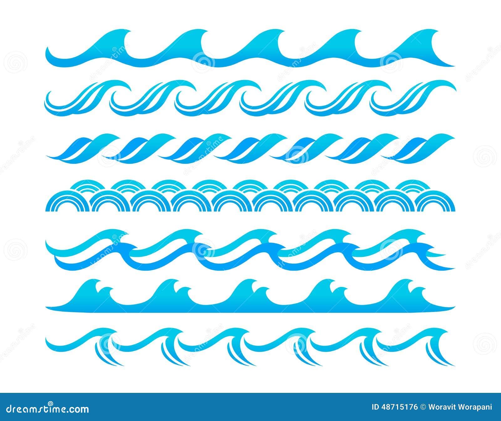 Water Waves Design Elements Vector Set Stock Vector