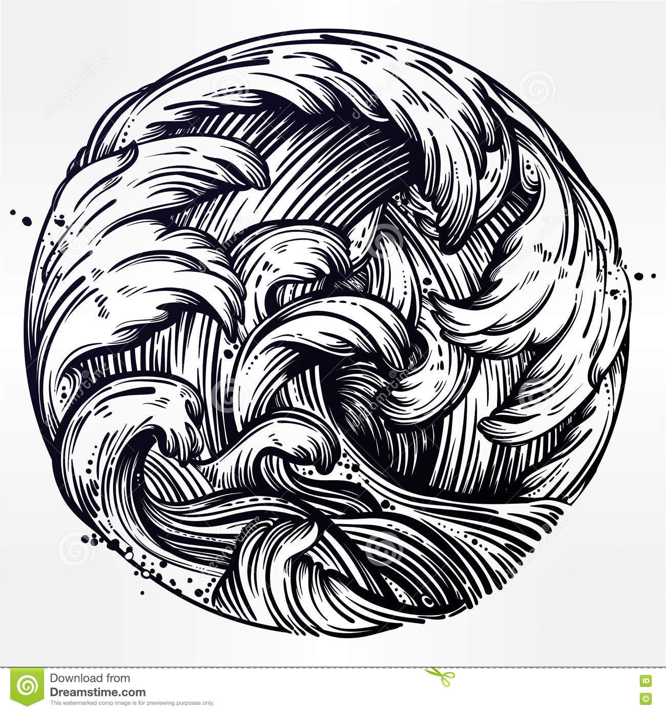 Line Art Vector : Water waves in the sea line drawing stock vector