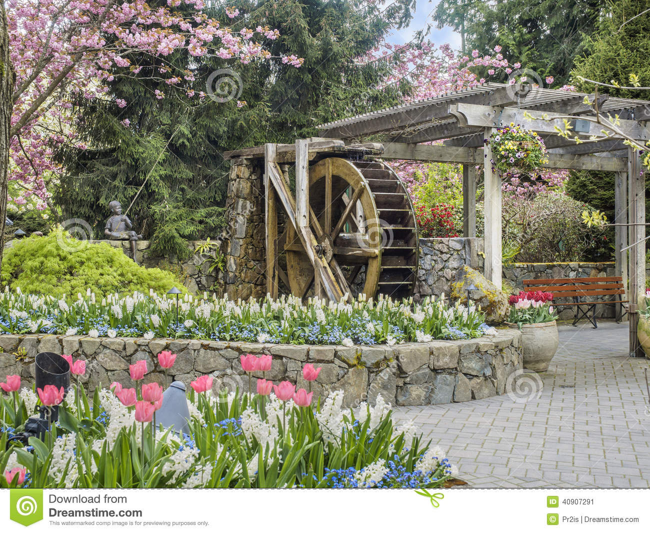 Statue In Butchart Gardens Victoria Canada Stock Photo Image