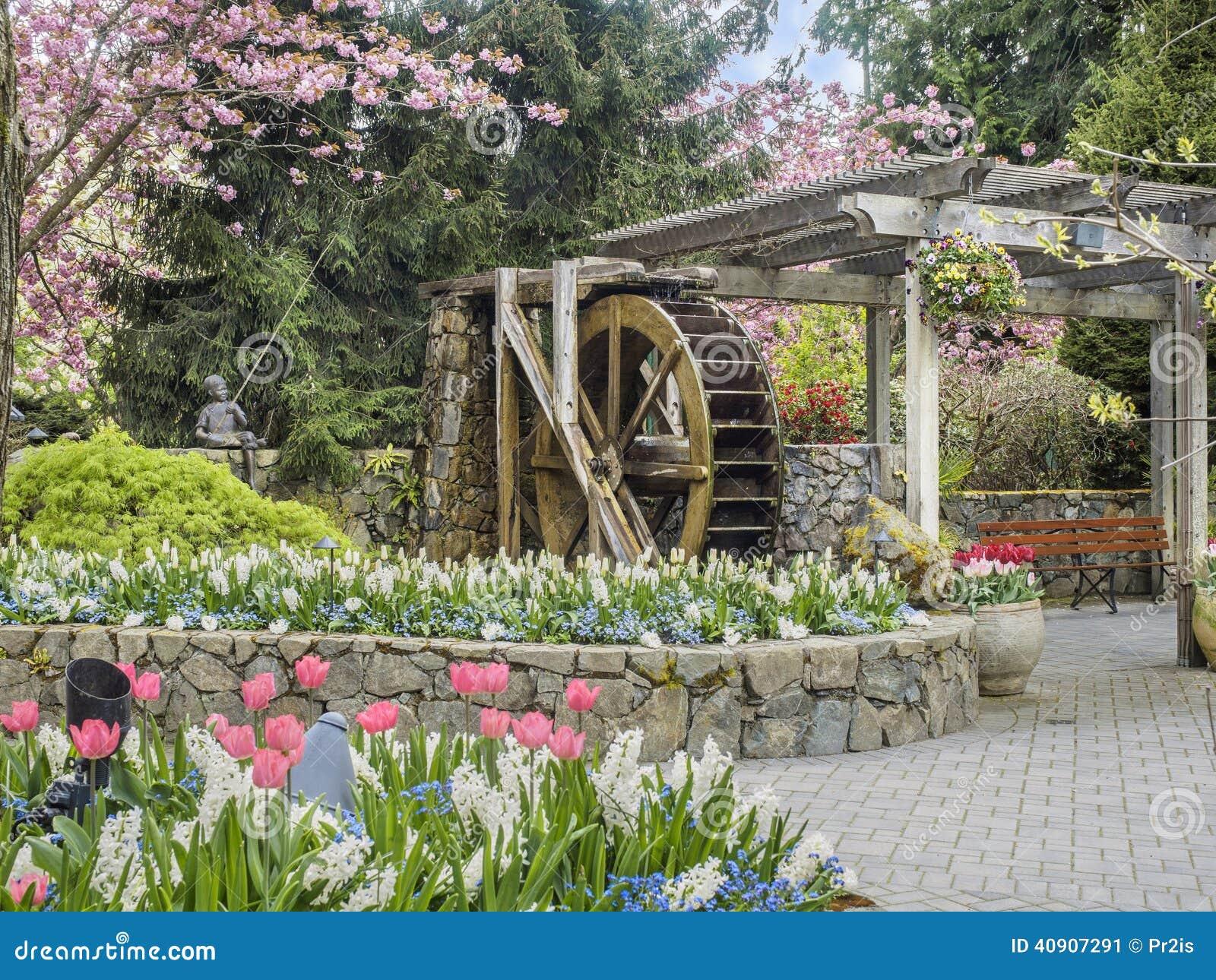 Water wheel in butchart gardens victoria british columbia for Garden design victoria bc