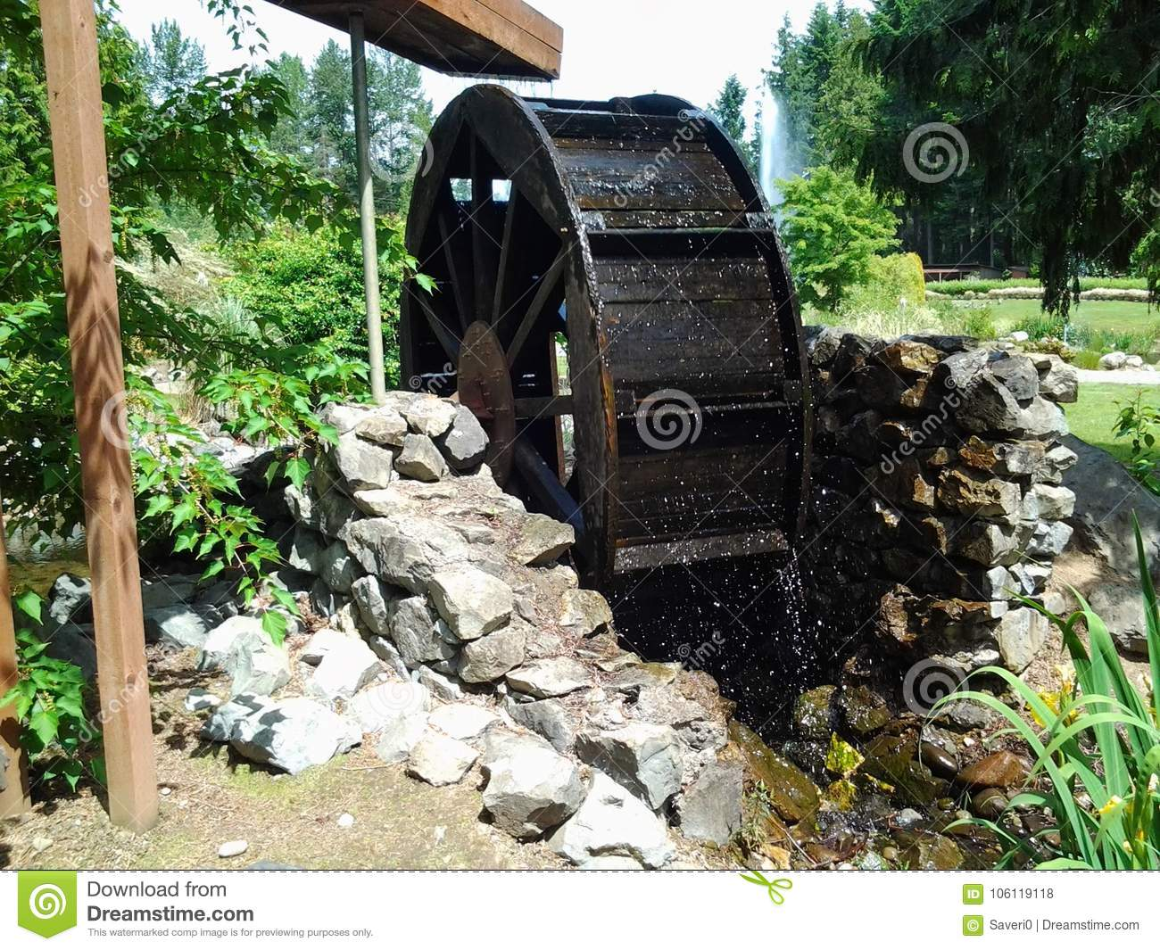 Water Wheel In A Private Landscaped Garden