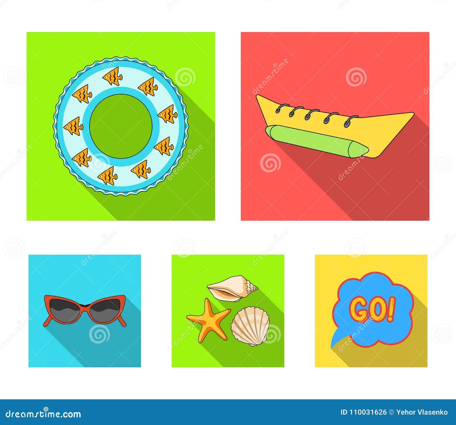 Wateraantrekkelijkheid, zeeschelpen, beschermende brillen Vastgestelde de inzamelingspictogrammen van de de zomervakantie in vlak