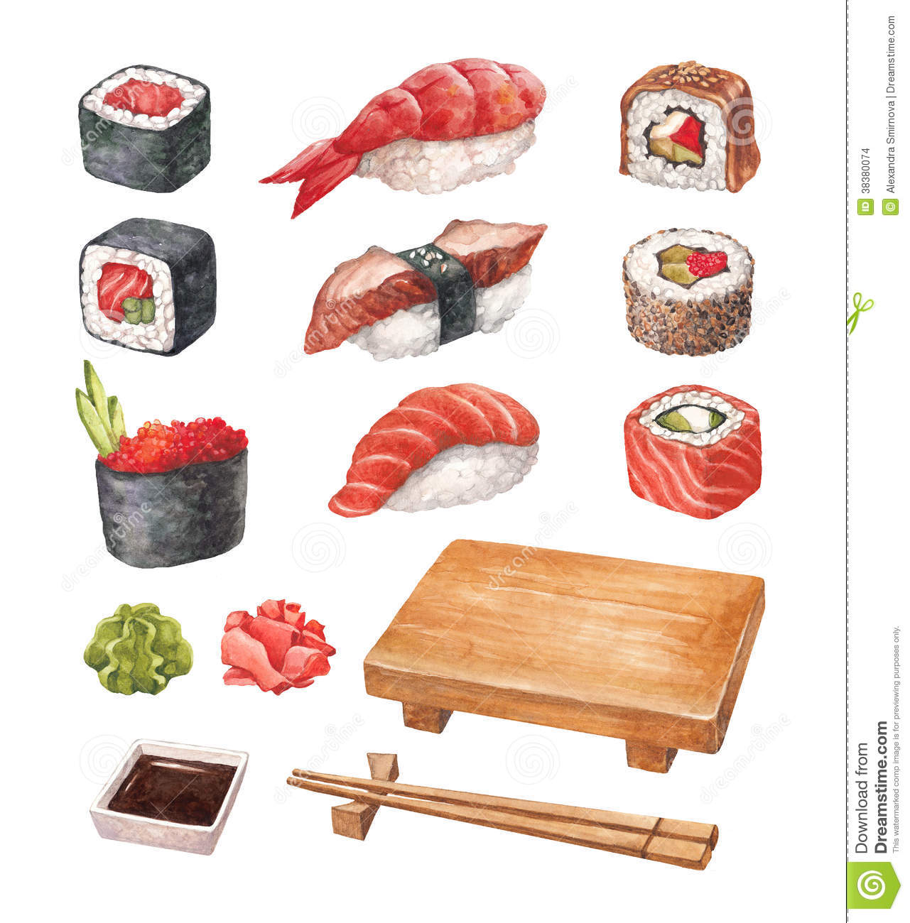 Watercollor illustrations of a sushi