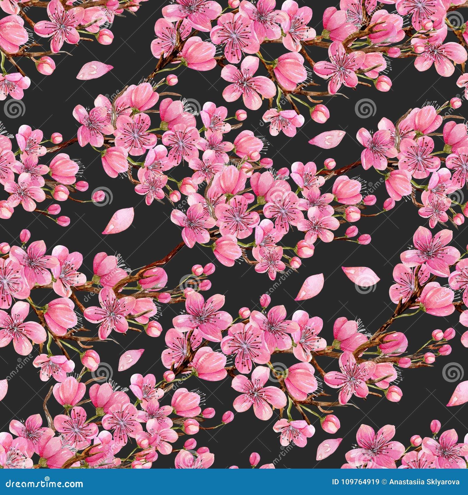 Watercolor άνευ ραφής σχέδιο κλάδων δέντρων κερασιών άνοιξη ανθίζοντας