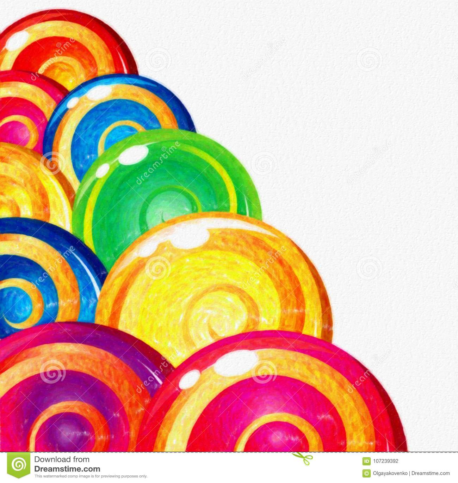 Watercolor ζωηρόχρωμο Lollipops στο άσπρο υπόβαθρο Γλυκά τρόφιμα