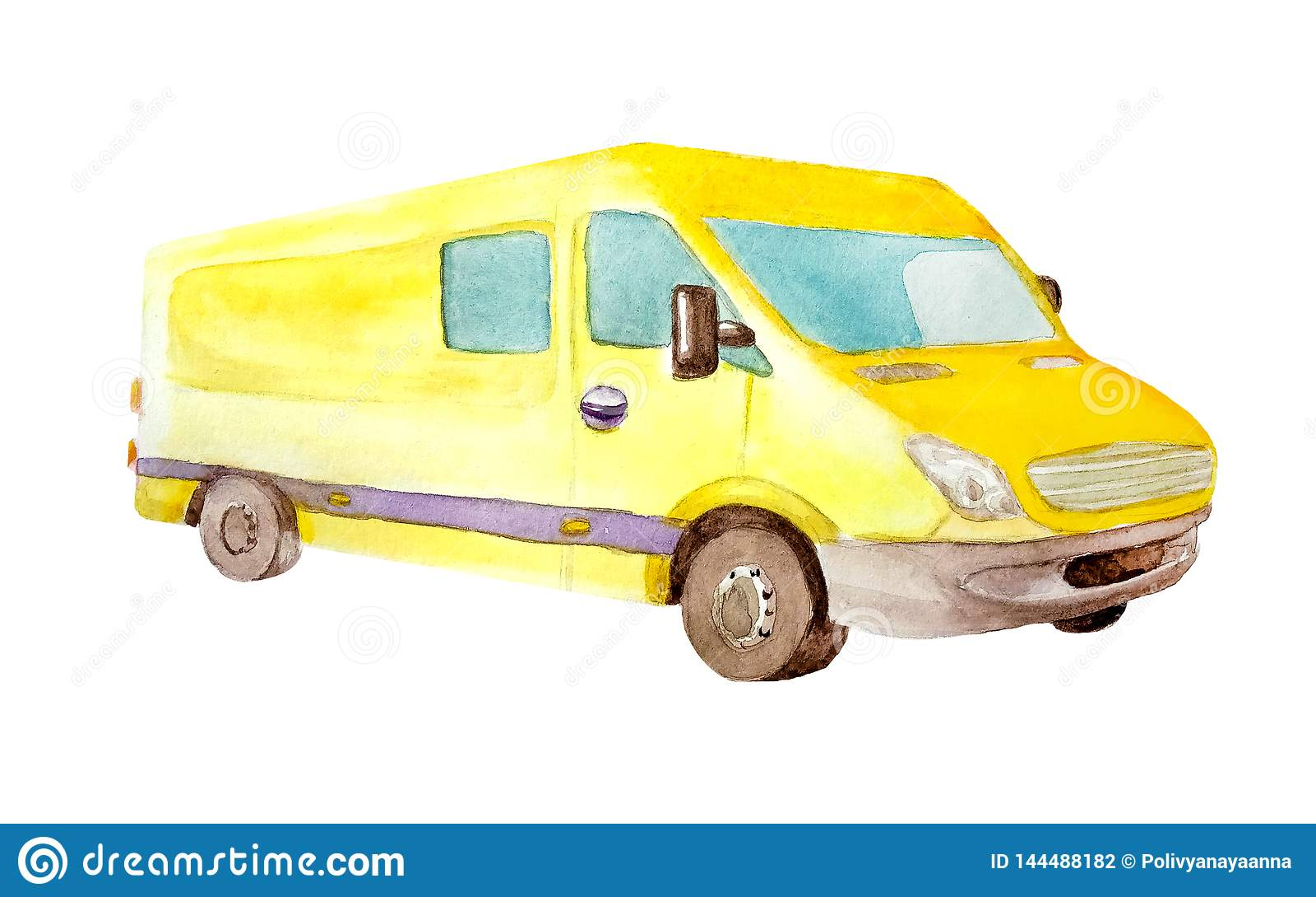 Watercolor κίτρινο van truck με τις γκρίζες ρόδες και ένα παράθυρο στην πλάτη που απομονώνεται στο άσπρο υπόβαθρο για τις κάρτες,
