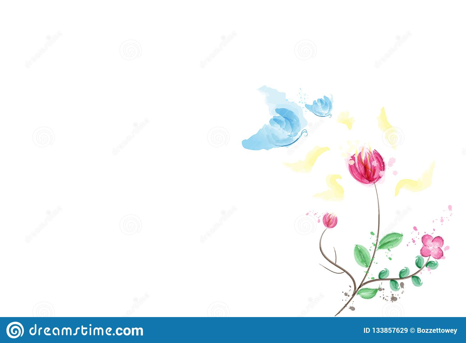 Watercolor, πεταλούδα με τη γύρη του λουλουδιού, φύση μελανιού splatter