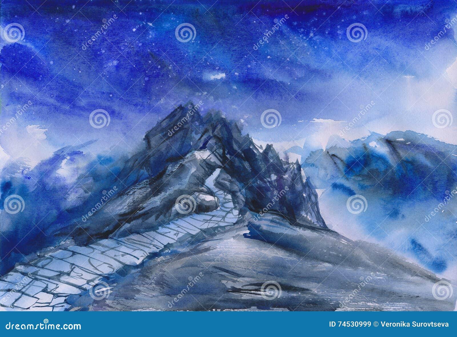 Watercolor πορειών βουνών