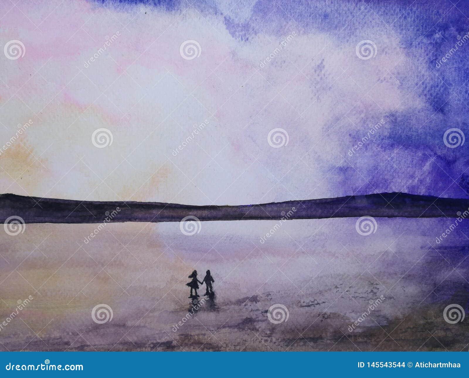 Watercolor σκιαγραφιών τοπίων ρομαντικά θάλασσας ηλιοβασιλέματος χέρια εκ