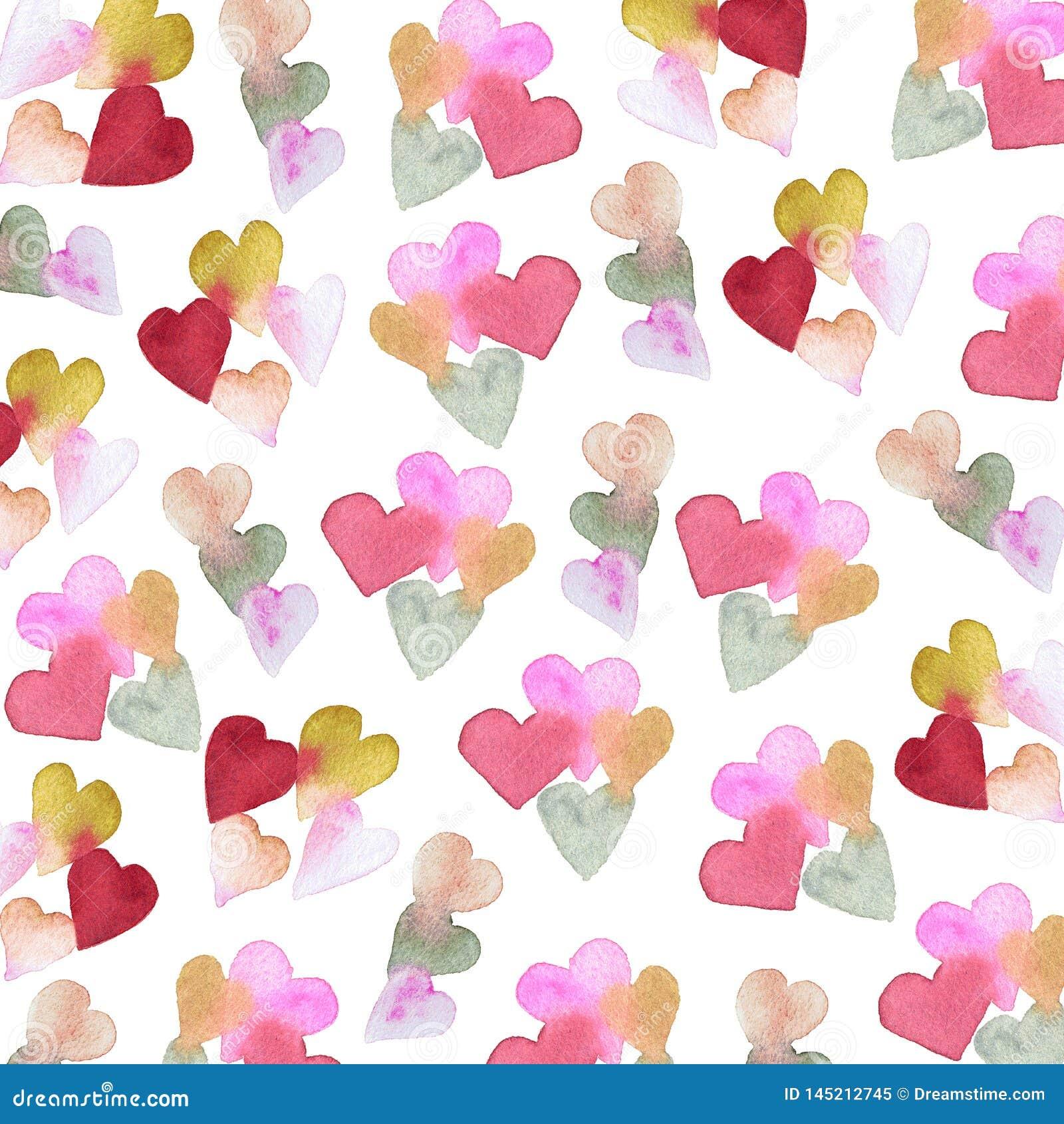 Σχέδιο Watercolor με τις καρδιές