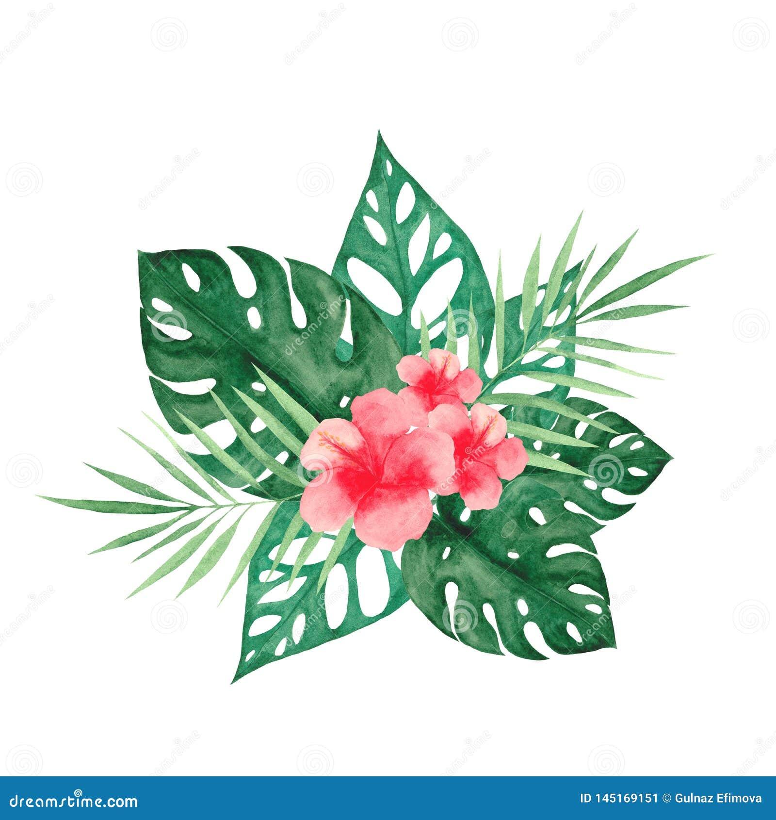 Watercolor που τίθεται με τα τροπικά φύλλα και τα λουλούδια