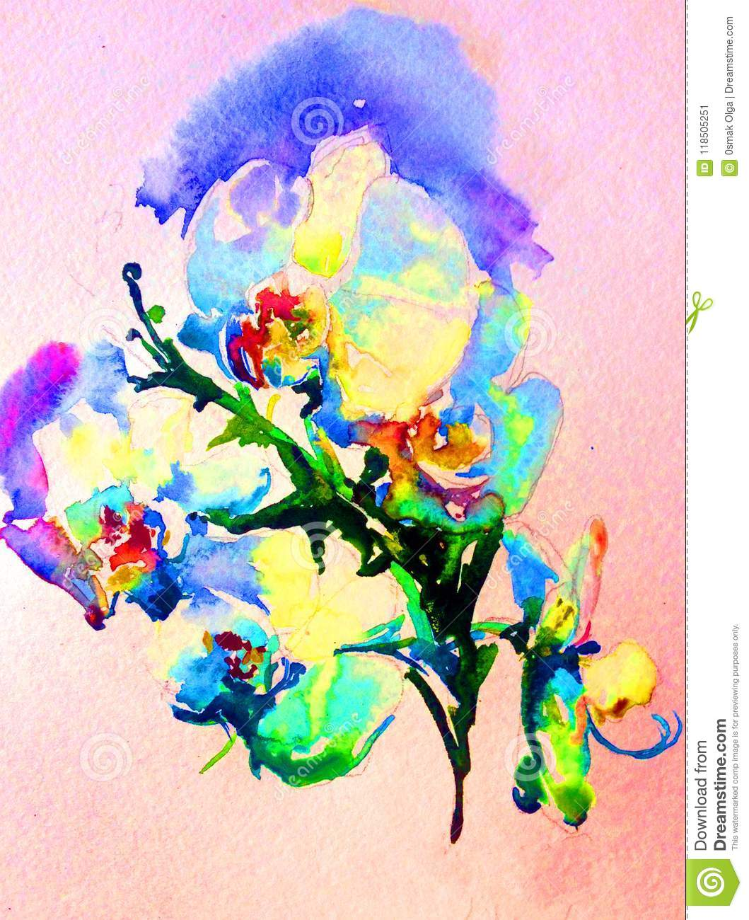 Watercolor Abstract Background Floral Orchid Flowers Spring