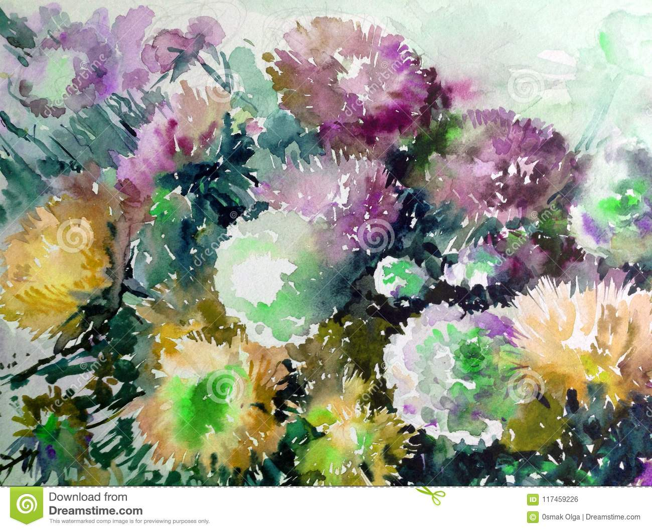 Watercolor Abstract Background Floral Pattern Garden Summer Bouquet Of Asters Flower Texture Decoration Hand Beautiful Wallpaper