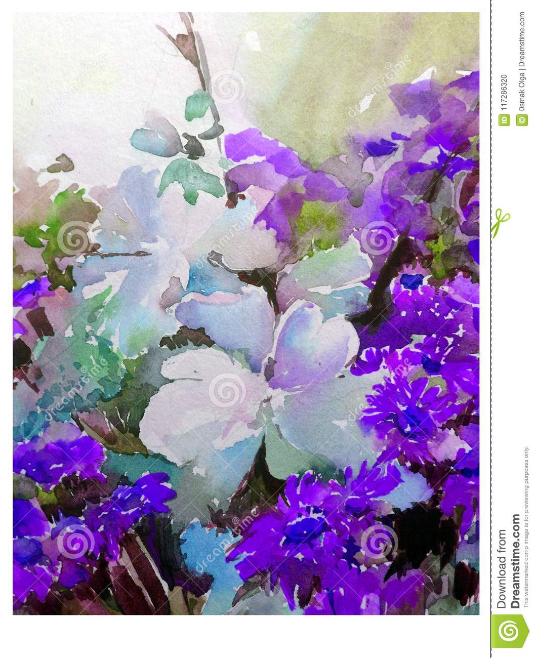 Watercolor Abstract Background Floral Pattern Meadow Summer Flower Texture Decoration Hand Beautiful Wallpaper