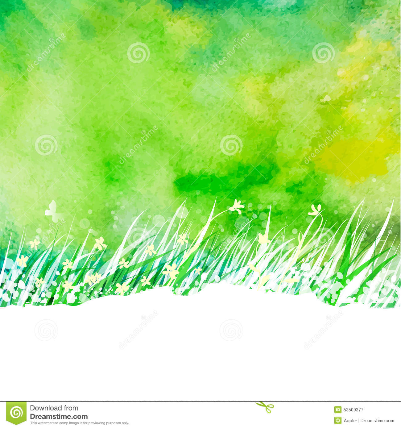 Watercolor abstract background with hand drawing garden grass. Season ...