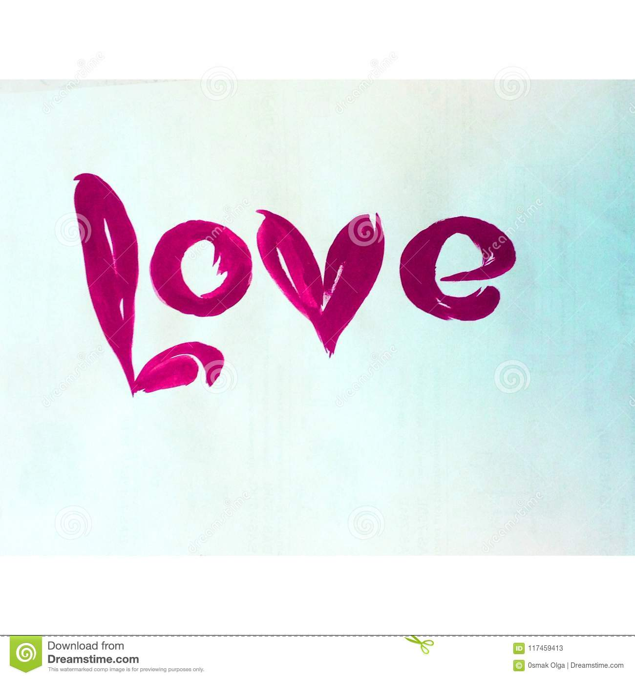 Watercolor Abstract Background Text Sign Word Love Texture