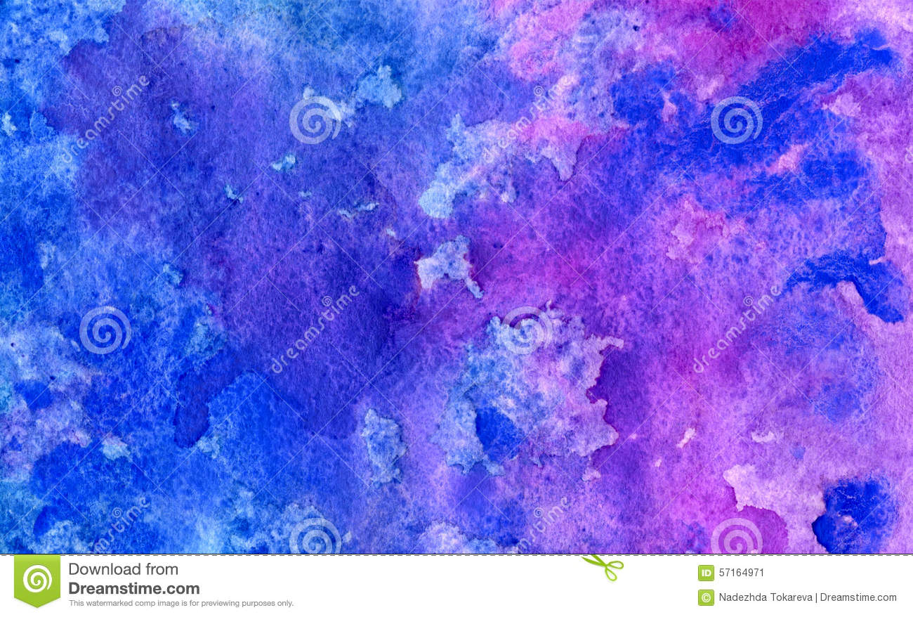 Watercolor Abstract Blue And Violet Background Stock