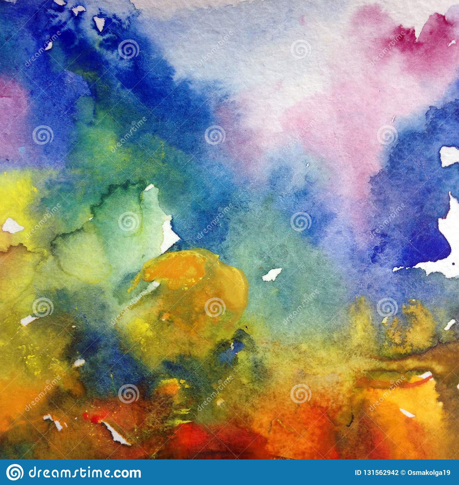Watercolor Abstract Bright Colorful Textural Background Handmade
