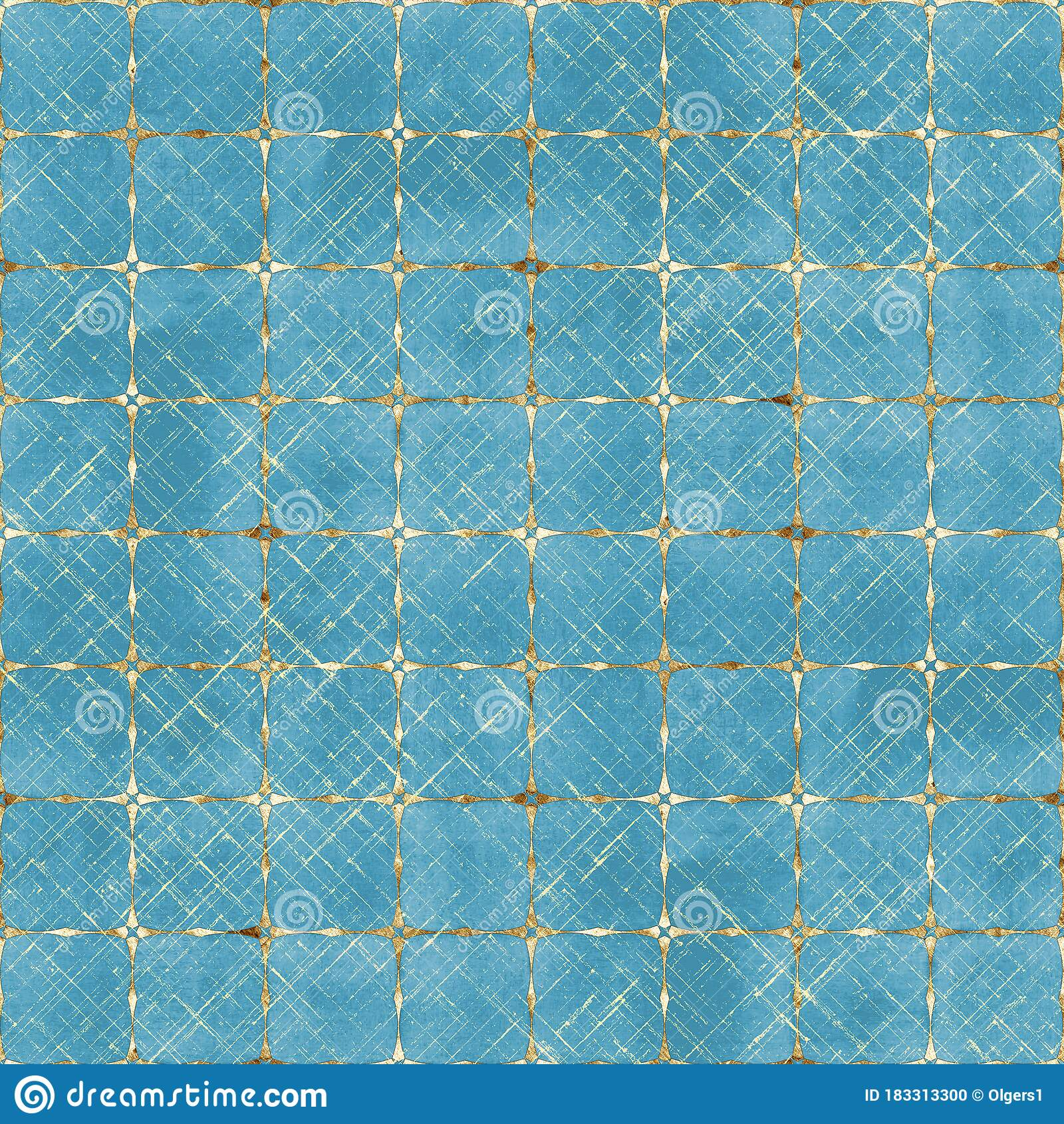 Watercolor Abstract Geometric Teal Blue Stripe Plaid ...