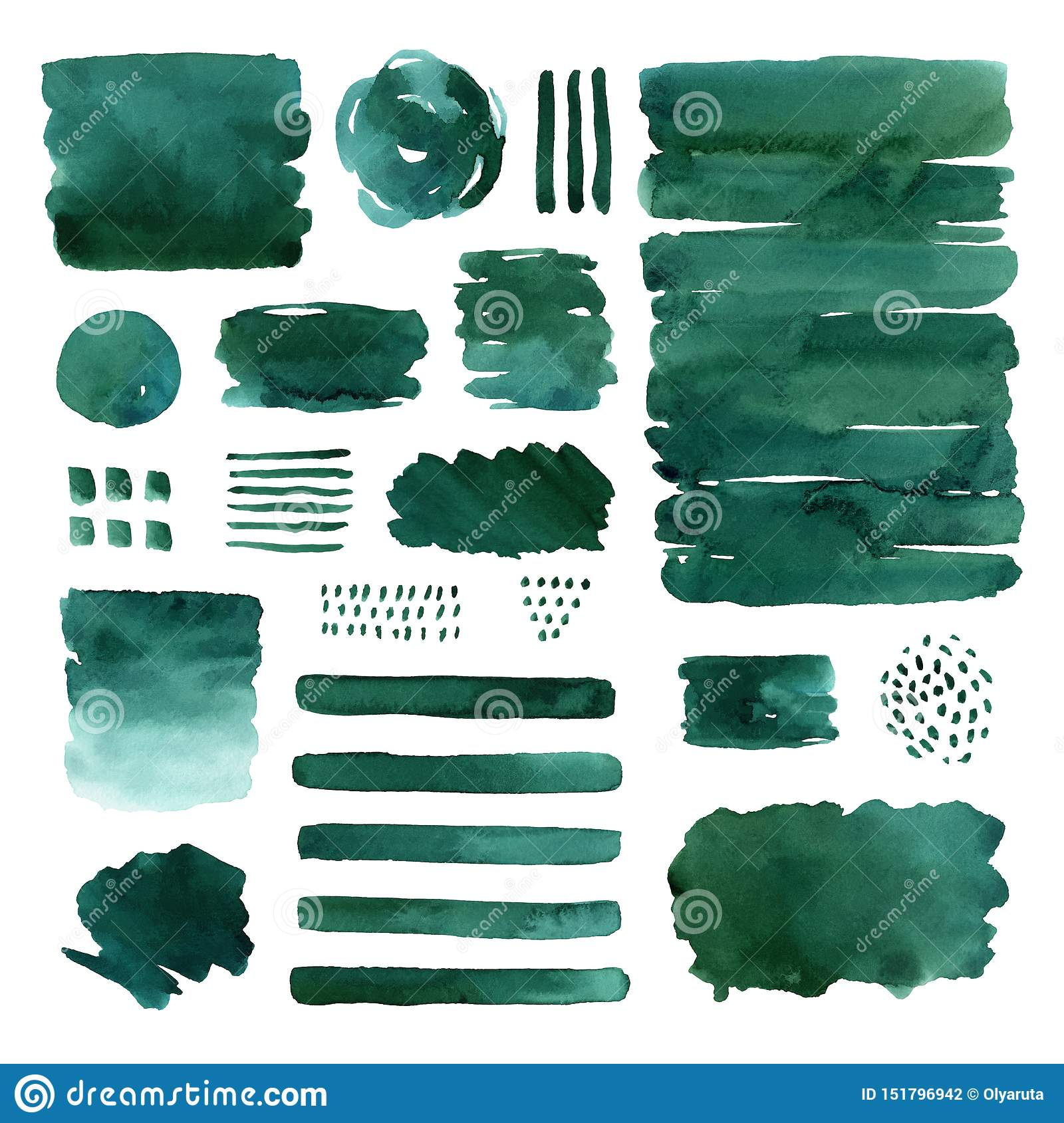 Watercolor abstract green elements