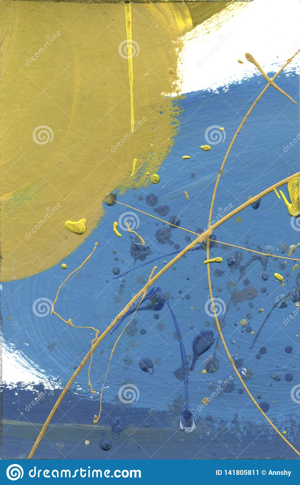 Watercolor abstract pained canvas. Desert effect acrylic splashes hand made paint yellow and blue lines texture. Blue gradient