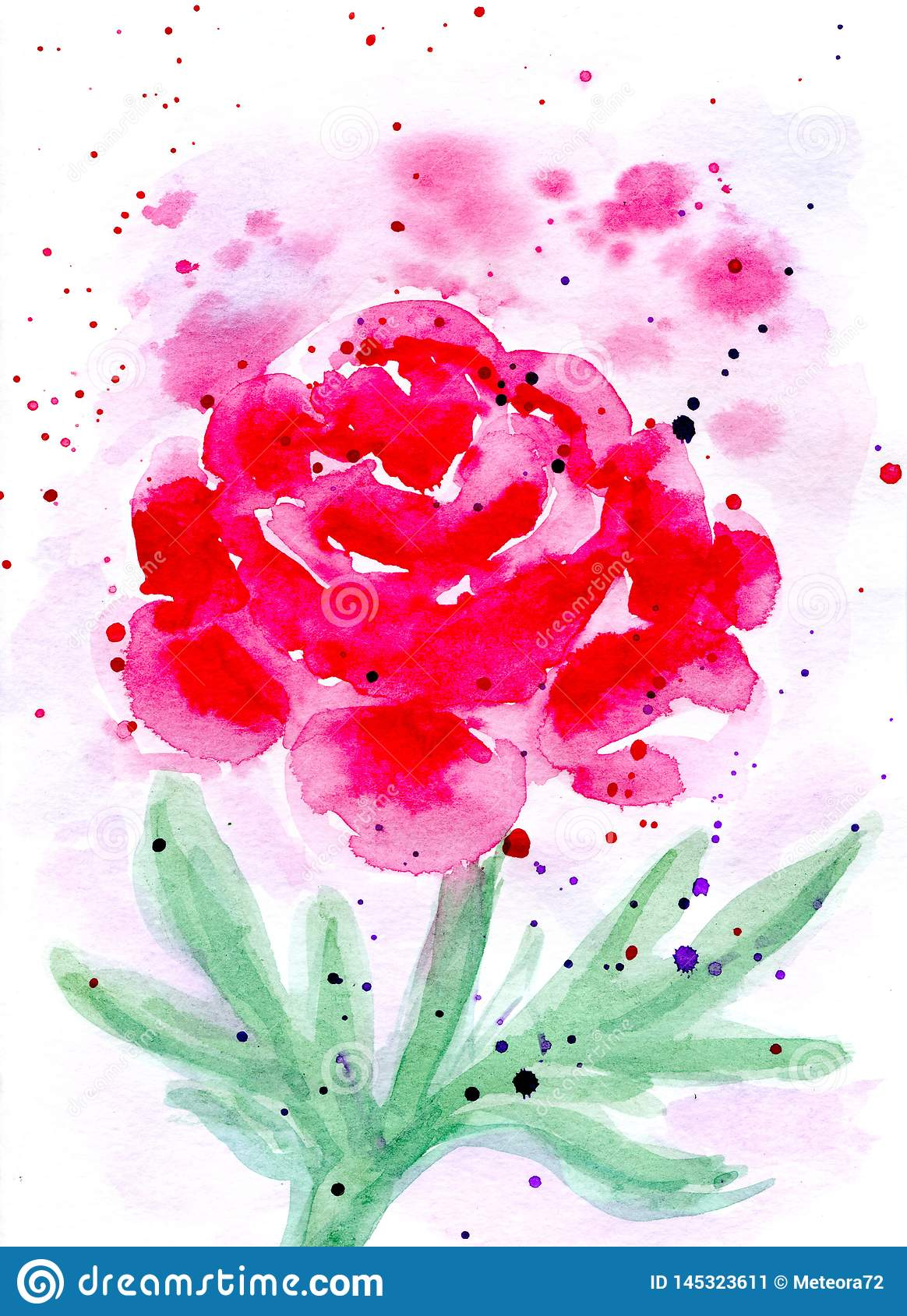 Watercolor abstract peony card. Raster illustration.