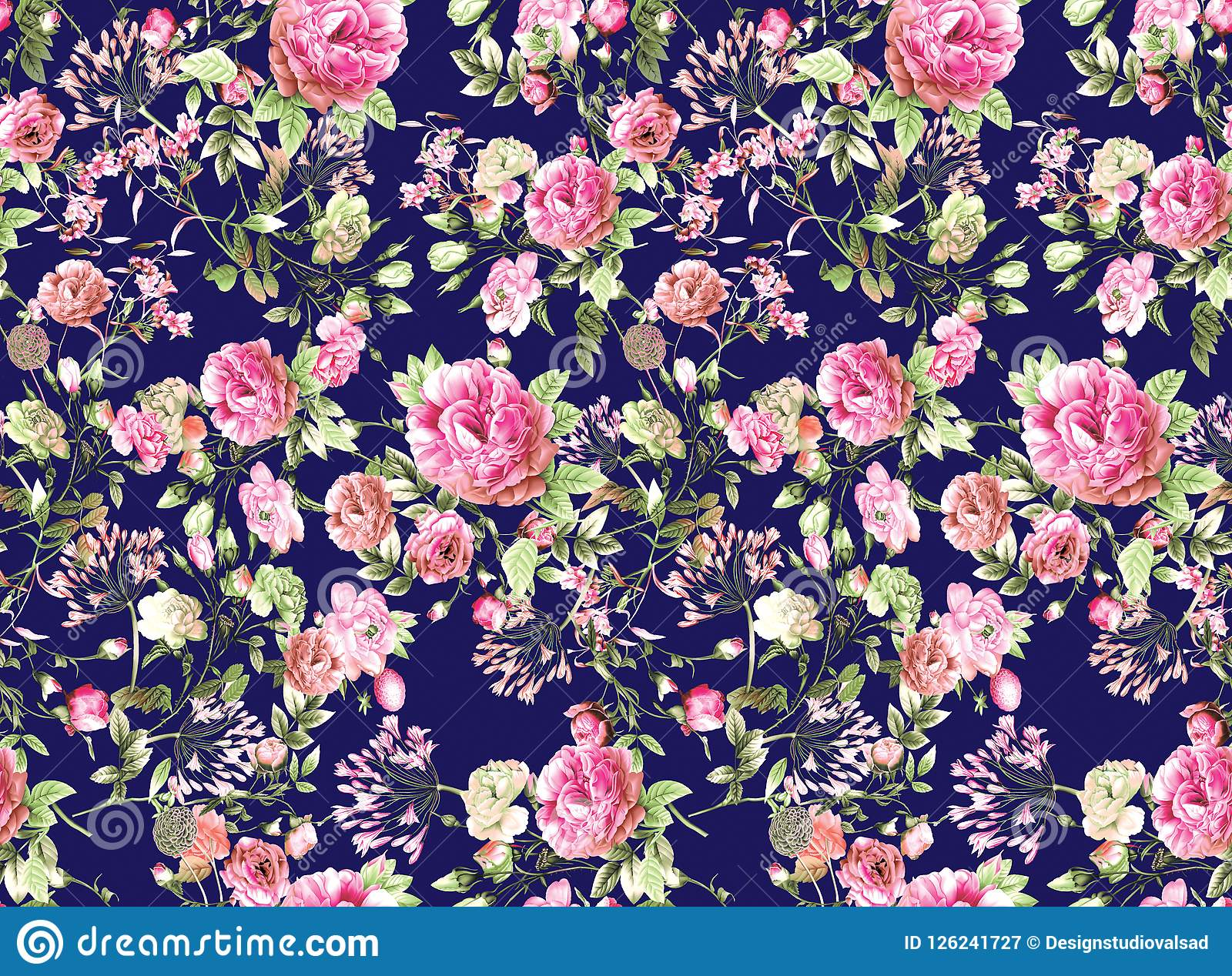 Watercolor Flower Pattern Navy Background Stock Illustration