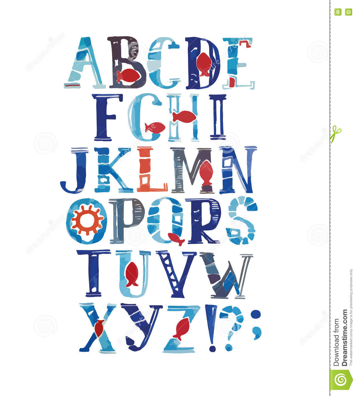 Watercolor Alphabet In Marine Style. Vector With Colorful Letters ...