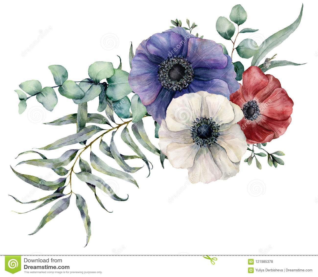 Watercolor Anemone Asymmetric Bouquet Hand Painted Red Blue And