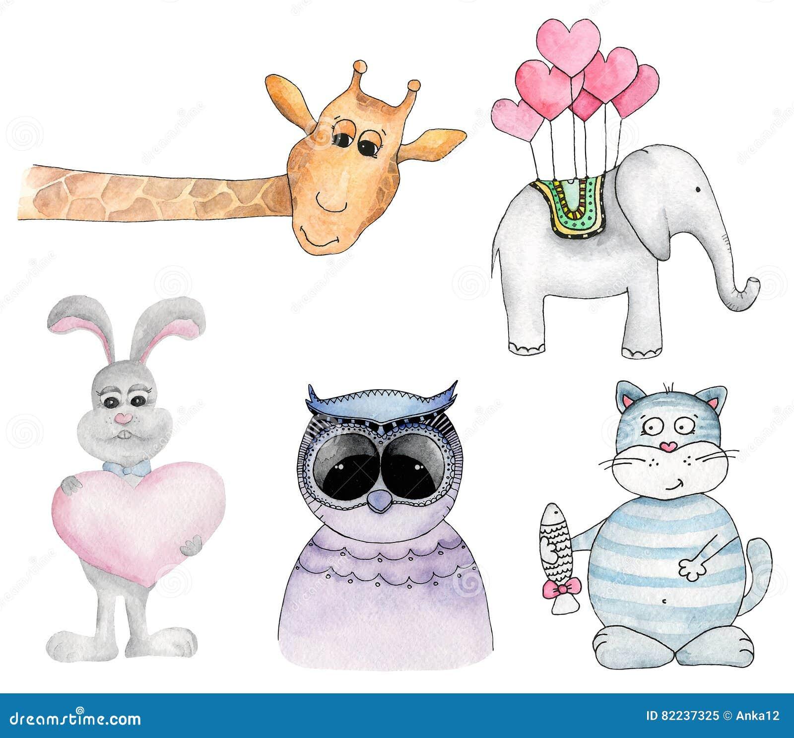 Watercolor Animals Cartoon Vector Clip Art Stock Vector ...