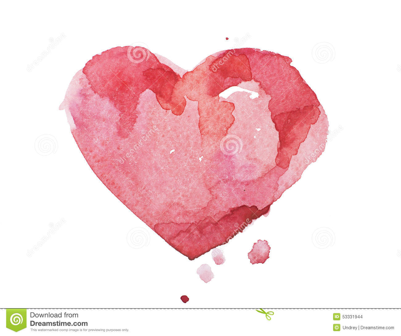 Watercolor aquarelle hand drawn colorful red heart