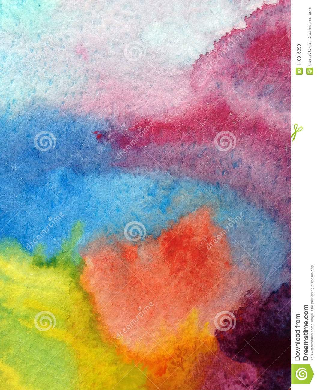 Watercolor art abstract background beautiful sun sunset clouds modern textured wet wash blurred fantasy