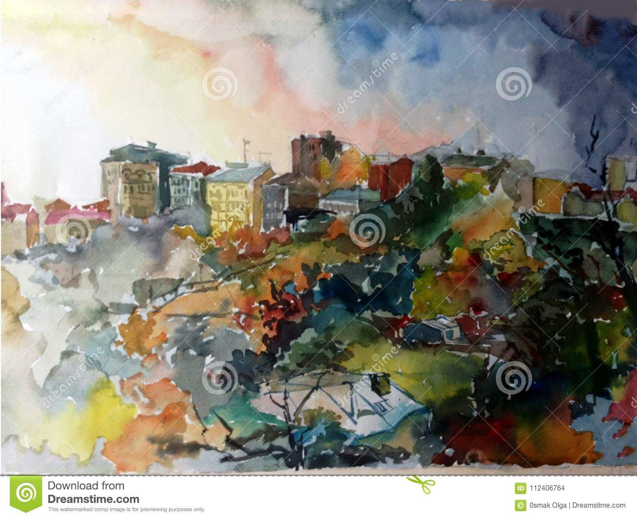 Watercolor art background abstract city architecture house building textured wet wash blurred fantasy