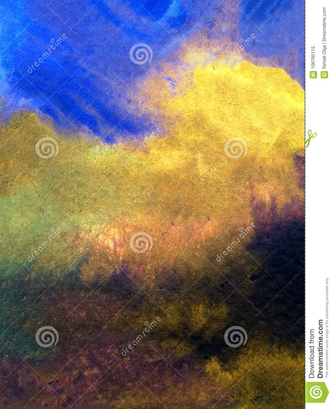 Watercolor art background abstract sky clouds storm colorful textured wet wash blurred overflow blots