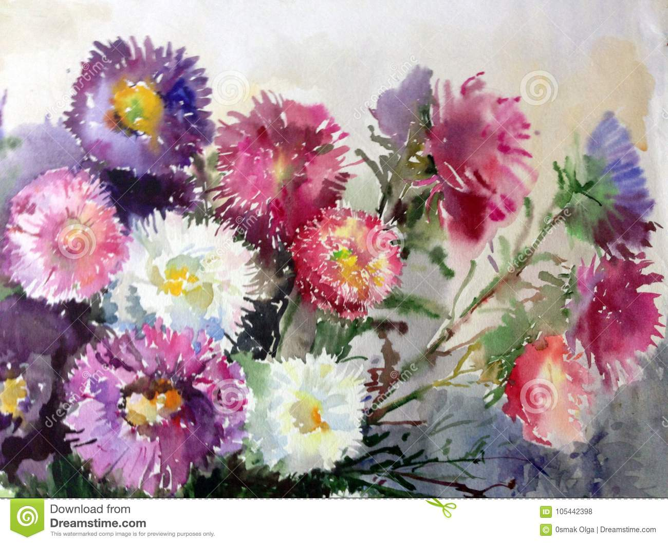 Watercolor art background colorful aster flower bouquet still life download watercolor art background colorful aster flower bouquet still life painting stock illustration illustration of izmirmasajfo