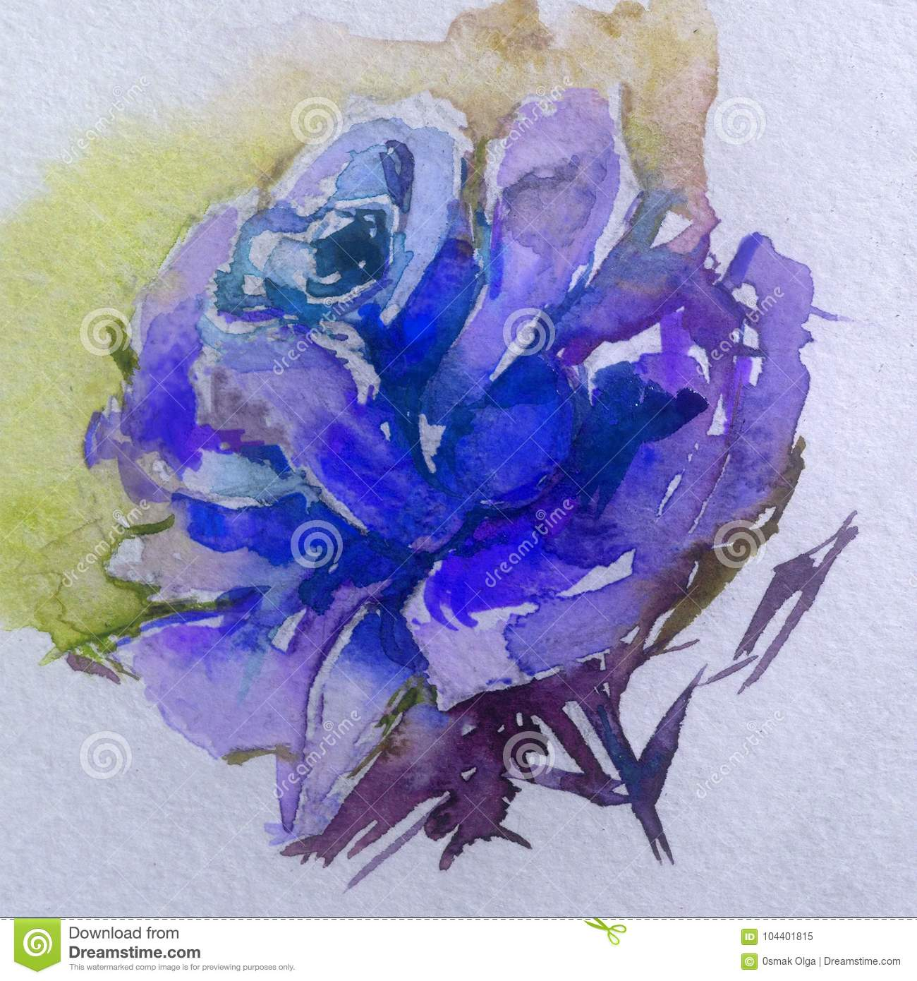 Watercolor Art Background Colorful Flower Blue Rose Fantasy Stock