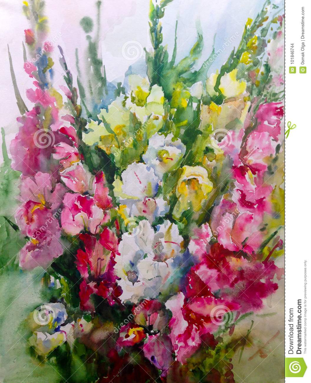 Watercolor Art Background Colorful Flower Bouquet Stock Illustration ...