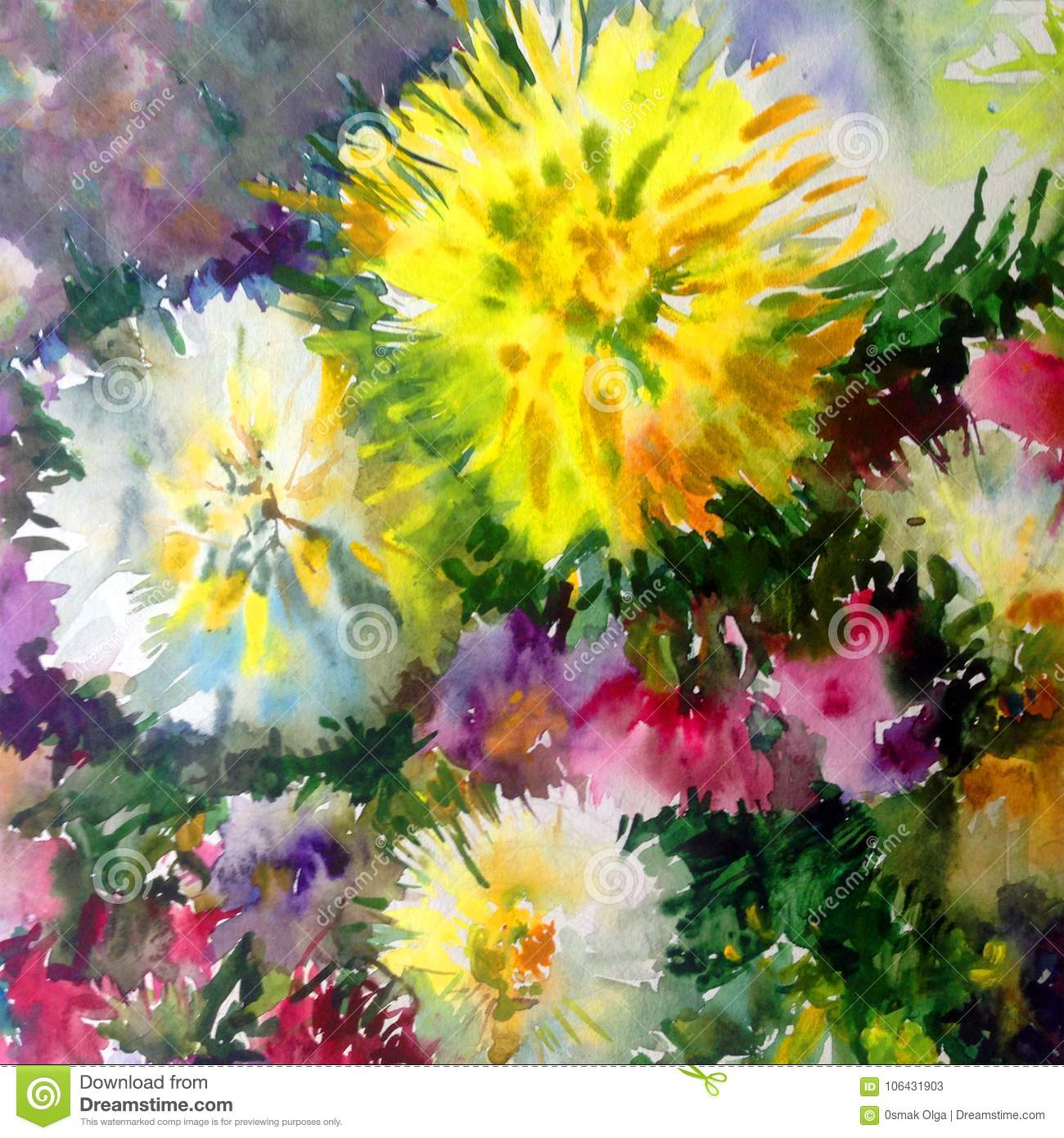 Watercolor Art Background Colorful Nature Summer White
