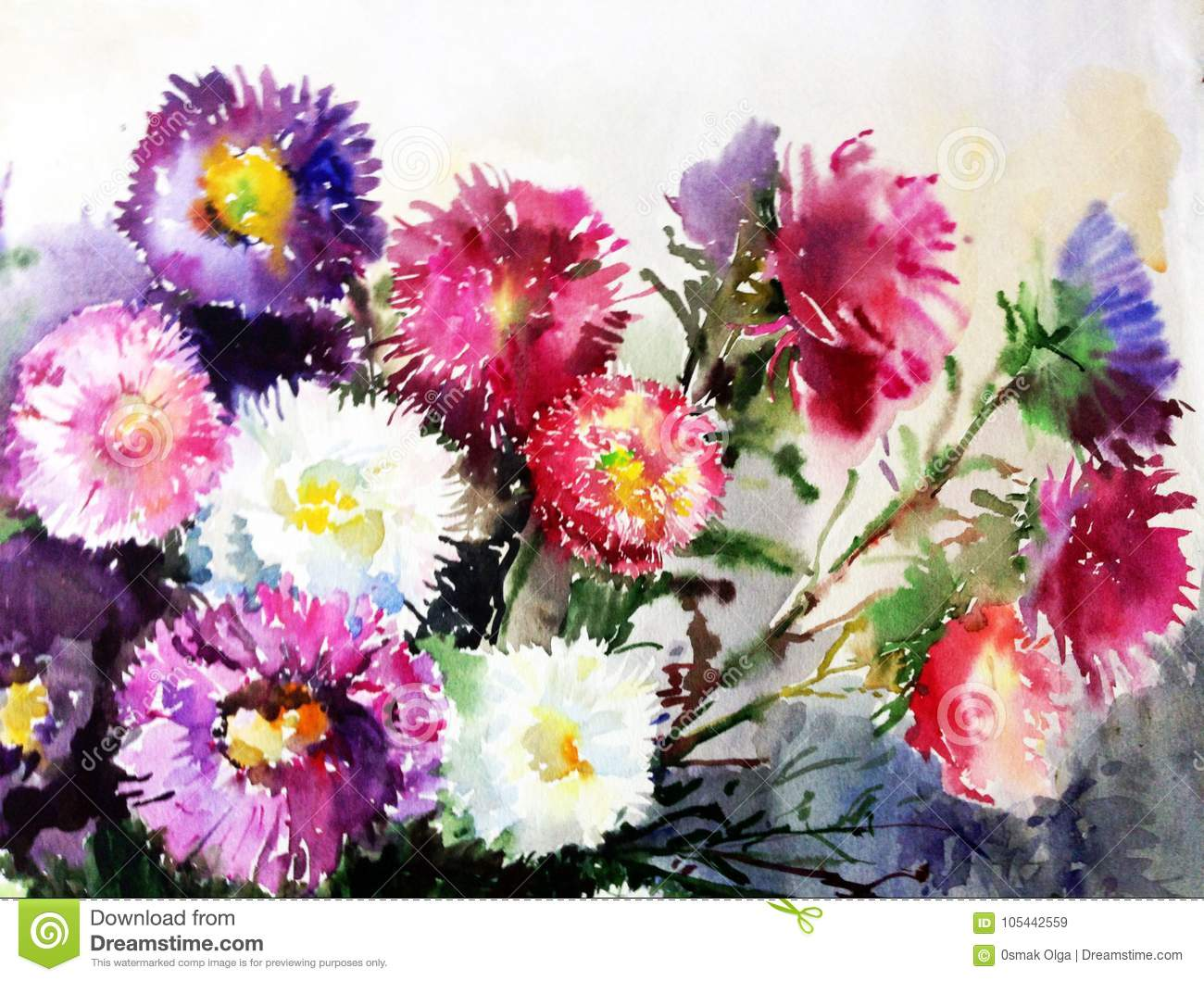 Watercolor Art Background Colorful Soft Violet Purple Pink Aster